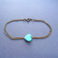 two layered blue love copper chain bracelet