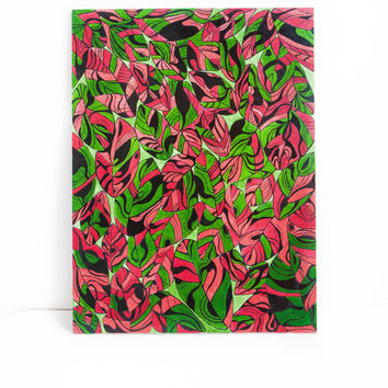 Red and green leaves wall art. painting