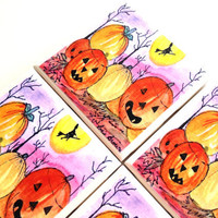 Pumpkin Ceramic Coasters, Fall Harvest Tiles,  Halloween Witch Broom Stick, Table Drink Set
