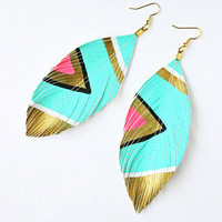 Neon Aztec Turquoise Earrings by Glamfoxx