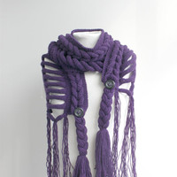 Free SHIPPING Purple Wool  Scarf christmasinjuly Gift under 75 For Her For Women