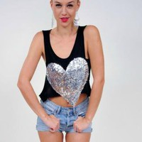 Black Sleeveless Crop Top with Silver Sequin Heart Front