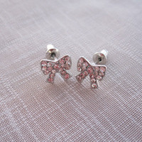 Silver Bow Post Earrings, Bridal Earrings, Gift, Christmas Gift, Cubic Zirconia Crystals