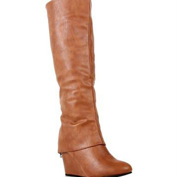 Cognac Tall Wedge Boots