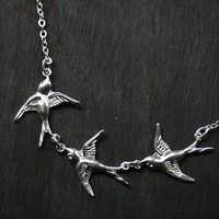 Silver Swooping Swallow Triplet Necklace by robinhoodcouture