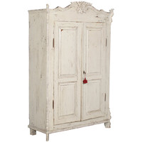 Scandinavian White Distressed Painted Armoire, Circa 1870 at 1stdibs