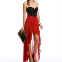 Deep Red Strapless Hi-Low Dress