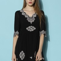 Infinity Floral Embroidered Crepe Dress