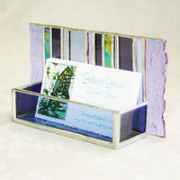 Stained Glass Business Card Holder Purple Lavender Art Glass Office Home Desk Accessory Handmade OOAK Striped