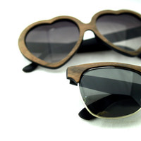 His and Her Wood Veneer Sunglasses // Set of Two // Custom Bride and Groom Wedding Gift
