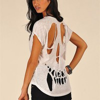 Happy Skull Face top - White at Necessary Clothing