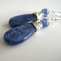 Blue Kyanite Artisan Earrings with Sterling Silver Wire Wrapping