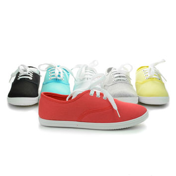 Buddy01 Canvas Round Toe Lace Up Flat Sneakers