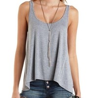 Scoop Neck Swing Tank Top by Charlotte Russe - Heather Gray