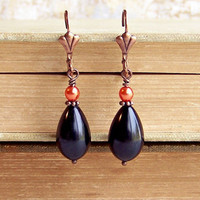 Black and Orange Earrings - black drop earrings with an orange glass pearl - Halloween Earrings