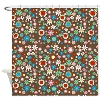 Floral Design Shower Curtain> Blooming Flowers and Petals (Botanical Still)> Strawberry and Hearts