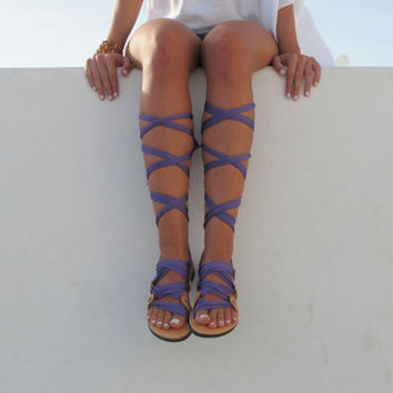 "Lace up sandals, Customizable, Choose scarf laces from 18 colors and leather footbed from 6 colors  ""ATHENA"" ATHS10"