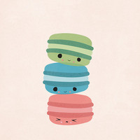 Three's Company - Macaroon Cookies, Food Art, Wall Art, Home Decor, French Treats,  Sea Blue, Quirky, Kawaii - 8 x 10 - Illustration Print