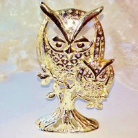 Vintage New Gold Owl and Baby Earring Holder Tree Metal Signed Torino Jewelry Accessory Home Bathroom Bedroom Bird Decor Organizer Estate