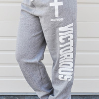 JCLU Forever Christian t-shirts — LOOSE FIT- VICTORIOUS- SWEAT PANT-ASH HEATHER