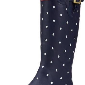 Joules Women's Welly Print Rain Boot, Navy Spot/White, 9 M US