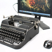 USB Typewriter Computer Keyboard -- Mottled Black Underwood Ace
