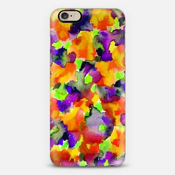 COLOR ME FLORAL 2 Wild Fancy Bold Abstract Watercolor Painting Orange Lime Green Eggplant Violet Purple Pretty Summer Garden Flowers Fine Art Girly Romantic Nature iPhone 6 case by Ebi Emporium | Casetify
