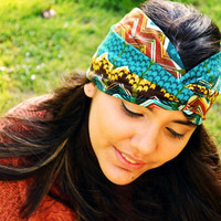 Turban Headband Headwrap Aztec Nomad Tribal Print Zig Zag Teal Yoga Workout Twisted Band