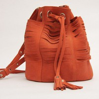 Tajos Coral Suede Leather Bag// Ready to ship  //