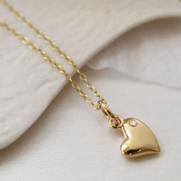 Nine Carat Gold Warm Heart Necklace With Sapphire