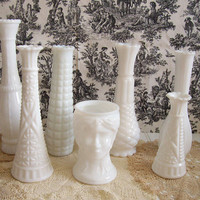Set of 7 Vintage Milk Glass Vases  Wedding by FunkytownDesign