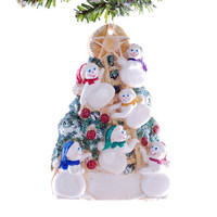 Family of 6 snowmen Chrismtas ornament - personalized for six - large family personalized ornament