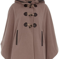 Taupe twill toggle cape - Capes & Ponchos - Coats - Clothing - Dorothy Perkins