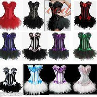 Fancy Corset Dress Moulin Rouge Burleques TUTU Ladies Costume Lingerie 8068+7008