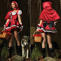 Deluxe Adult Red Sexy Riding Hood Fairy Tale Fancy Halloween Costume Dresses