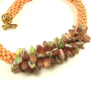 Salmon-Mango Silver Lined Kumihimo Braided Necklace with Leafy Focals