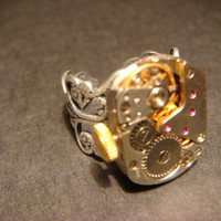 Steampunk Watch Movement Ring with Exposed Gears (584)
