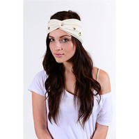 White Studded Turban Headband  womens fall hair accessories eco friendly