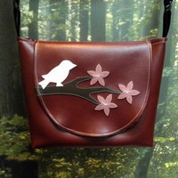 Bird and Cherry Blossoms Burgundy Vinyl Purse by kittyempire3