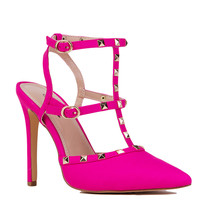 T-Strap Studded Heels in Hot Pink
