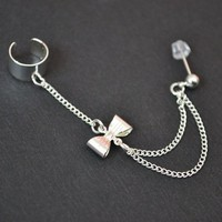 cuffandchains — Mini Bow Cuff and Chain Earring