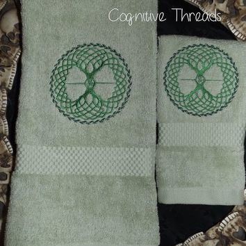 Tree Of Life Embroidered Hand Towel and Washcloth
