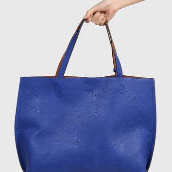 Reversible Leather Tote Bag - Royal Blue
