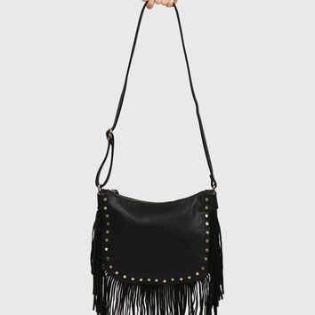Crossbody Studded Fringe Bag - Black
