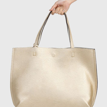 Reversible Leather Tote Bag - Gold