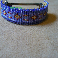 loom beaded Native American Style Ponytail barrette in Lavender and Metallic purple