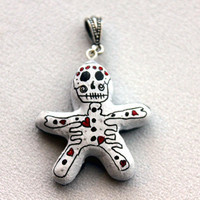Day of the Dead/ Halloween Pendant Poppet Black&White with Hearts