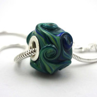 Blue Green Big Hole Bead Necklace with Silver by MercuryGlass
