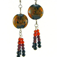 Orange Yellow and Red on Black Lampworked Glass by MercuryGlass