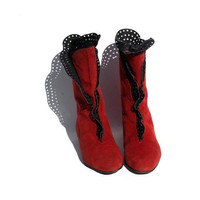Red & Black Suede Italian Leather Ankle Boots size 8